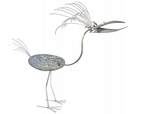 edelstahl steinvogel groß naturstein gartendekoration gartenteich tiedemann manufaktur wetterfest niroata rostfrei