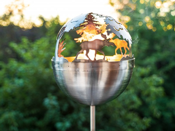 Motivfackel Feuerkugel Gartenfackel Feuerball Leuchtkugel Feuerfackel Elch gartendekoration terasse balkon elch