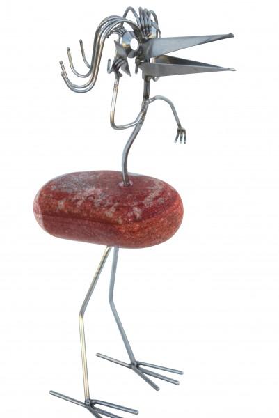 lilly telefonierend steinvogel gartendeko balkon Naturstein edelstahl schrebergarten tiedemann