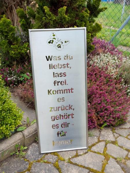 J. Tiedemann Manufaktur & Design Gartenschild Edelstahl wetterfest, rostfrei mit Rahmen