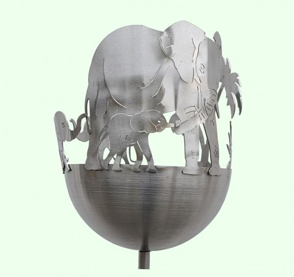 Edelstahlfackel Gartenfackel Balkon Terasse Elefant wetterfest rostfrei v2a nirosta Gartendekoration j.tiedemann manufaktur & design