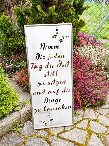 J. Tiedemann Manufaktur Gartenschild mit Spruch Edelstahl rostfrei wetterfest