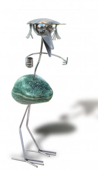 Edelstahlvogel mit Steinkopf Edelstahl Steinvogel stehend j tiedemann manufaktur wetterfest gartendeko
