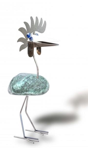 Edelstahlvogel mit Glasaugen Edelstahl Steinvogel stehend j tiedemann manufaktur wetterfest gartendeko