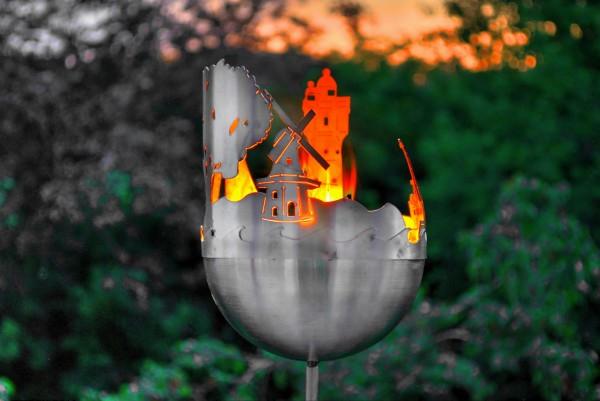 Edelstahlfackel Feuerfackel Gartenfackel v2a nirosta Gartendekoration wetterfest rostfrei Rankhilfe J. Tiedemann Manufaktur & Design