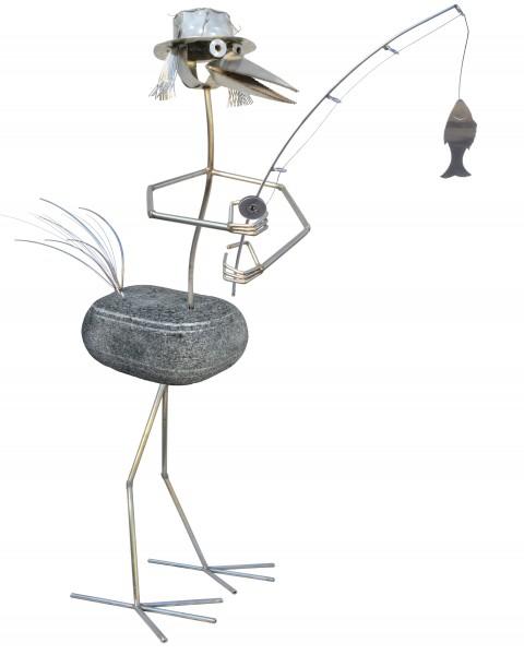 Steinvogel gartendeko handarbeit teich edelstahl naturstein angler j tiedemann manufaktur