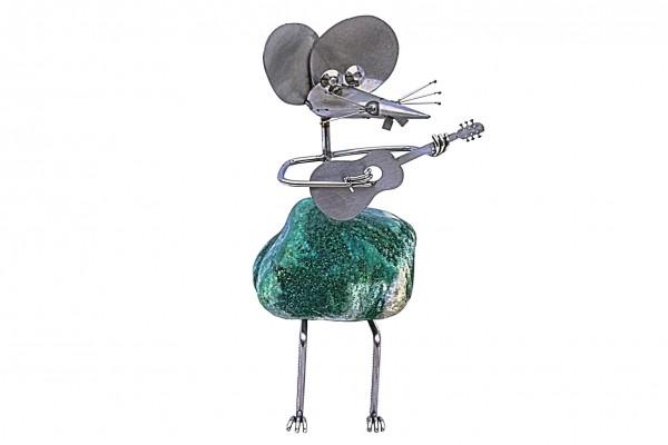 mopsel steinmaus gitarrenspieler edelstahl naturstein gartendekoration j tiedemann manufaktur