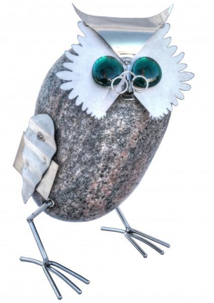 professor eule buch naturstein edelstahl vogel garten deko balkon terasse tiedemann manufaktur